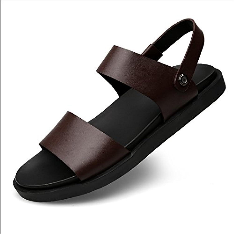 Herren Sandale Outdoor Sports Leder Anti Rutsch Sandalen (24 0 27 5) cm. (Farbe : Rot  Größe : 43 1/3 EU)