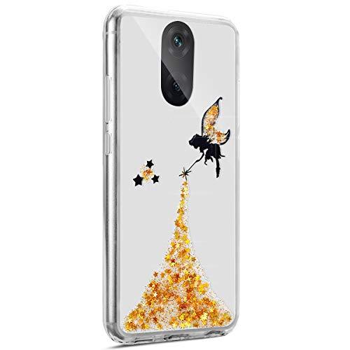 Coque Huawei Mate 10 Lite,Surakey Glitter Paillette TPU Silicone Étui Housse Téléphone Couverture Brillant Cristal strass avec Ange Papillon motif Transparent Case pour Huawei Mate 10 Lite, Jaune