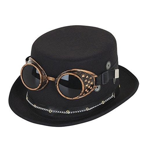 Bristol Novelty bh673Steampunk Top Hat Schwarz mit Brillen und Getriebe, eine Größe