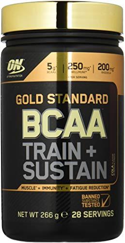 Optimum Nutrition Gold Standard BCAA- Verzweigtkettige Aminosäuren (mit Vitamin C, Wellmune, Rhodiola rosea und Elektrolyten, BCAA Pulver von ON) Cola, 28 Portionen, 266g