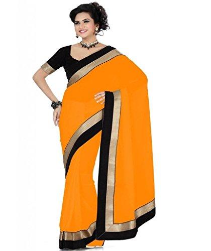 Kmozi's chiffon Orange colour Lace Broder WorkDesigner saree