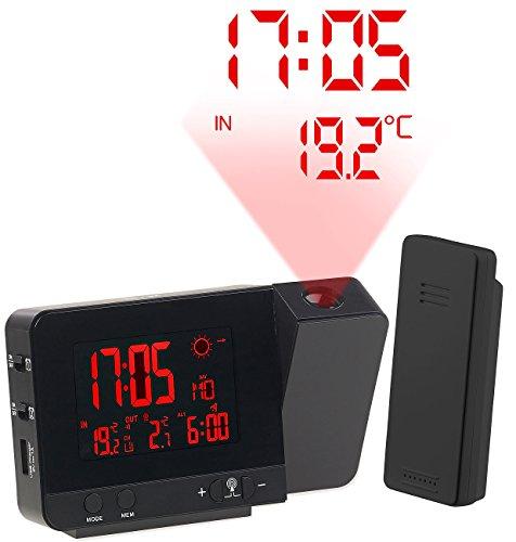 infactory Projektor Uhr: Funk-Wetterstation mit Projektions-Wecker, Außensensor & USB, schwarz (Projektionsuhren)