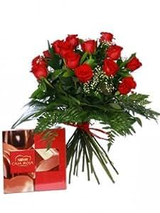 Floreslowcost Mazzo di 12 Rose rosse fresche naturali + confezione regalo da 100 g di cioccolato Nestlé