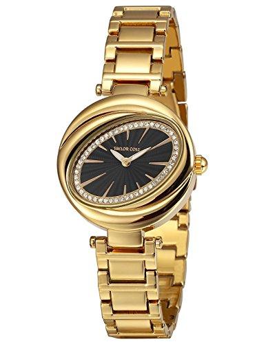 Taylor Cole Luxus Runde Kristall Blütenblatt Oval Dame Schlank Japan Quarz Movt Stahl Band Armband Uhr Frauen Uhr TC100 (- Quarz Movt-uhr)