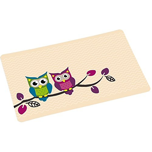 KESPER Set de Table Hibou, Plastique, Multicolore, 43,5x28x0,07 cm