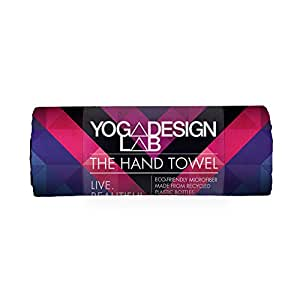 THE HAND TOWEL by YOGA DESIGN LAB | Premium Quick Dry Colorful Eco Printed Fitness Towel | Designed in Bali | Non Slip Ideal for Bikram, Hot Yoga, Exercise, and Outdoor Sports | Soft, Small, and Cute! (Chevron Maya)