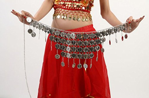 Dance Accessories Tribal Danse du ventre costume Hip écharpe Ceinture Big Round Coins Costume silver