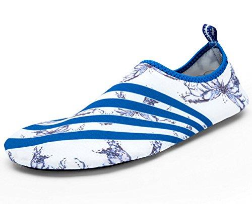 SMITHROAD Unisex Aquaschuhe Strandschuhe Surfschuhe Schnelltrockene Rutschfeste Schwimmschuhe für Damen Herren Kinder Weiß & Blau