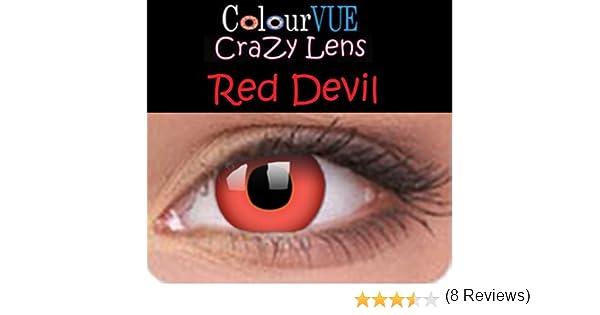 beecb478f6c584 Lentilles de contact couleur annuelle - Colour Vision Crazy Lens Red Devil  - Vos yeux n en reviendront pas!-sans correction  Amazon.fr  Bienvenue
