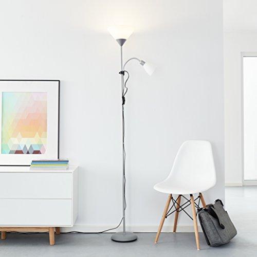 Klassischer LED Deckenfluter mit Lesearm, 1x 10W E27 LED / 1x 3W E14 LED inkl., 810 Lumen, 2700K warmweiß, Metall / Kunststoff, silber / weiß