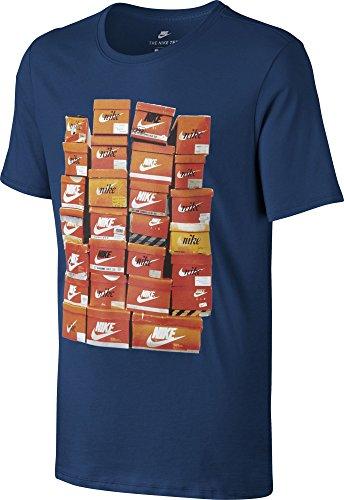 Nike Herren M Nsw Tee Vintage Shoebox Training T-Shirt, Blau blau/Orange
