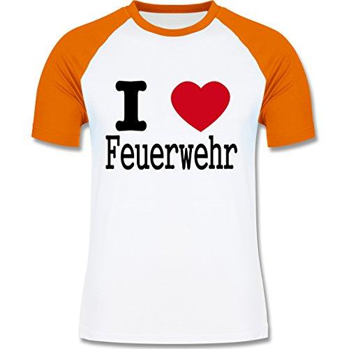 Feuerwehr - I Love Feuerwehr - zweifarbiges Baseballshirt für Männer Weiß/Orange