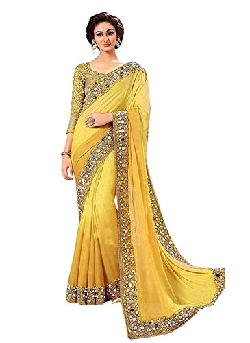 Jashvi Creation Women's Georgette Partywear Saree With embroidered Blouse Piece (party wear,wedding...
