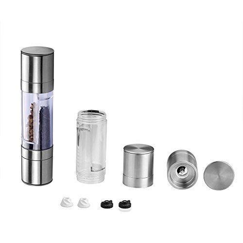 SIENOC Manuelle Salz-und Pfeffer-Schleifer 2 in 1 Dual einstellbare Grind Set Salz-Mühle & Pfeffer-Schleifer mit hochwertigem Edelstahl Dual-mühle-set
