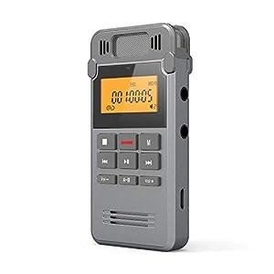 grabadoras de voz mini: COOAU Grabadora de Voz Digital Portátil, 8GB Recargable Carcasa Metálica con Gra...