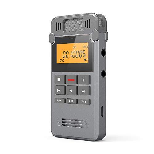 Registratore Vocale Digitale, Professionale Portatile 16GB di Memoria USB con Lettore MP3, Riduzione del Rumore, Batteria Ricaricabile, Rileva Automaticamente il Suono, per Riunioni Interviste Lezioni