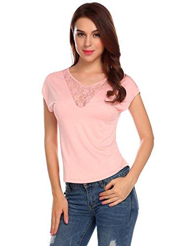 Chigant Damen Sommer Kurzarm T-Shirt Floraler Spitze V Ausschnitt Kurzarm mit Schnürung Hinten Oberteil Tops Bluse Shirt Rosa S