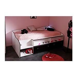 Lit cosy en 90x190 avec Leds pour chambre Fille DISCO Noire et Blanche