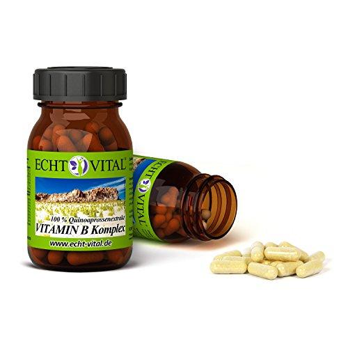 ECHT VITAL VITAMIN B KOMPLEX | alle 8 B-Vitamine | pflanzlich – aus Quinoasprossen | 60 Vit B Komplex Kapseln | ohne Magnesiumstearat | vegan & hochdosiert | laborgeprüft &