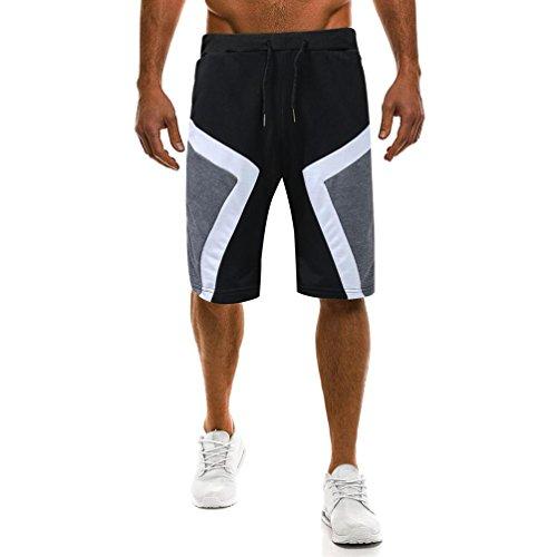 GreatestPAK Sommer Shorts Herren Muscle Pants Slacks Sport Sweatpants Jogginghose Hosen,Schwarz,L (Snap Pyjama-hose)