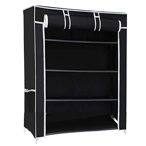 Ebee Black 4 Shelves Collapsible Shoe Rack