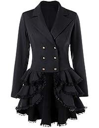 FNKDOR Manteau Femme Automne Hiver Vintage Punk Gothique Noble Veste Mode  Chic Loisir Ourlet Asymmetric Classic cbf2b3f21632