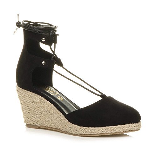 Womens ladies mid wedge heel summer cut out tie up espadrilles sandals size 5 38
