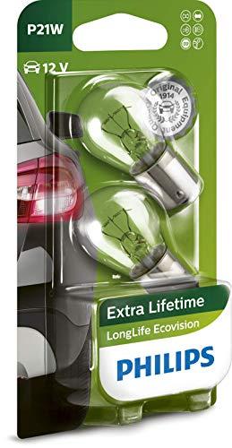 Philips 12498LLECOB2 LongLife EcoVision P21W Signallampe 12498LLECOB2, 2er Blister