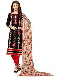 Cotton Salwar Suit(Kimisha Women's Women's Black Cotton Embroidered Straight Salwar Suit_K_MDMST45004_Black_Salwar...