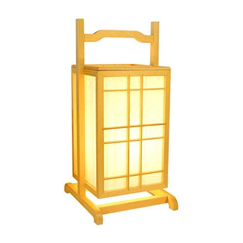 Lampada da tavolo in legno massello stile minimalista in stile giapponese, paralume in similpelle imitazione quadrata, lampada da comodino camera da letto soggiorno calda, lampada da ufficio in studio, lampada da terra portatile personalità creativa, lampada da tavolo hotel ristorante, e27, colore legno, 22 * 25 * 47cm