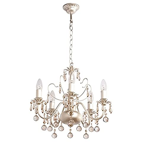 Exquisite graceful pendant chandelier with candles gentle elegant form in classic style baroque brass colour metal decorated with champagne crystal drops for a bedroom and a living room 5-bulb diametre 48cm E14 8x60W 230V - Elegante Cristallo