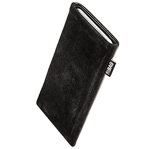 fitBAG Fusion Black/Black custom tailored sleeve for E-Ten Glofiish M700. Nappa/Suede leather mix Pouch with integrated MicroFibre lining for display cleaning