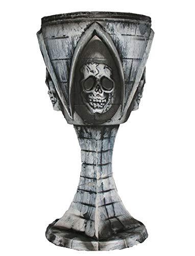 toybakery - Halloween Dekoration, Deko Mittelalter Horror Kelch mit Totenköpfen, Goblet with Skulls, ideal für Jede Halloween Party / Feier, Grau