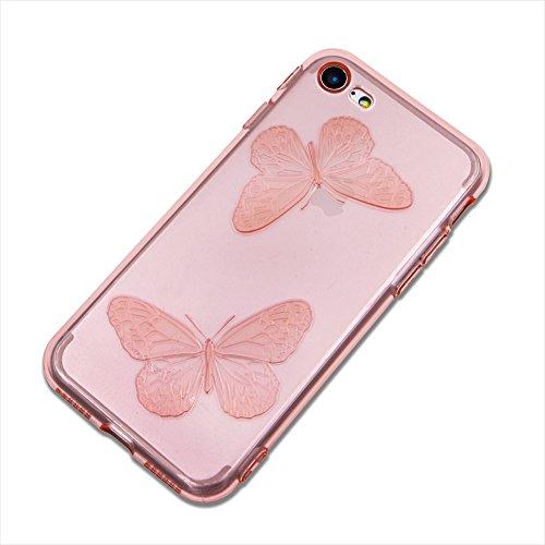 Custodia per Apple iPhone 7 Plus / iPhone 8 Plus Silicone Trasparente Farfalles - Girlyard Morbida Crystal Clear Leggera Sottile Coperture Protettiva Case Cover in TPU Antiurto Antipolvere per Apple i Blu
