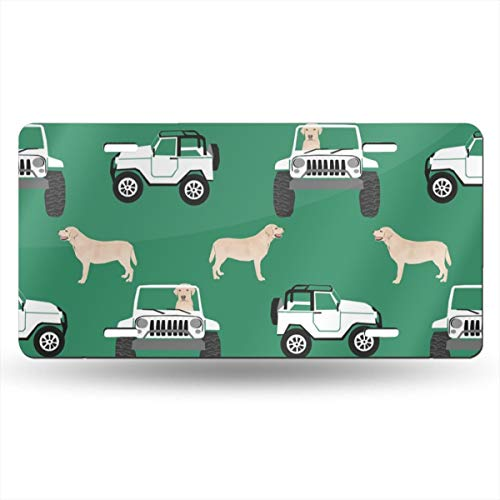 Funny&shirt Yellow Lab Dog, Cute Dogs and Cars Design - Green 26423 Retro  Vintage Auto License Plate Cars Home Pub Bar Decor 12 X 6 Inch