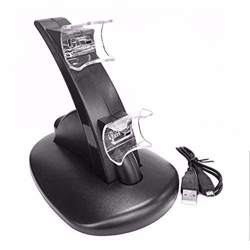 Microware Generic Black LED Light Quick Dual USB Charging Dock Stand Charger For PlayStation 3 For PS3 Controller Console