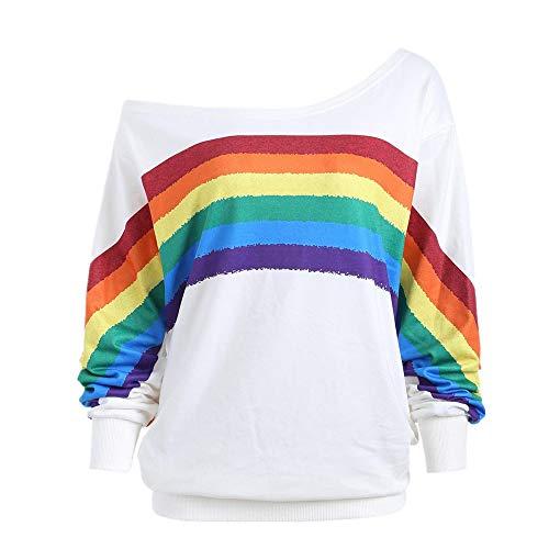 Dorical New One-Schulter Sweatshirt Damen Frühling Herbst Lang Ärmell Drucken Regenbogen O-Ausschnitt T-Shirt, Frauen Blouse Casual Slim Fit Stretch Schön T-Shirt Tops Sale(Weiß,XXXX-Large)