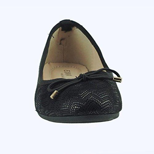 20014 Fashion4Young Leichte Damen Ballerinas Damenschuhe Textil Sommerschuhe Schwarz