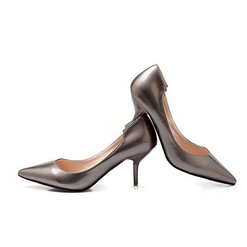 AalarDom Femme Pu Cuir à Talon Haut Pointu Tire Chaussures Légeres Argent-6.5CM