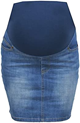 Ohma!Barcelona - Falda tejana premamá color azul claro para mujer embarazada