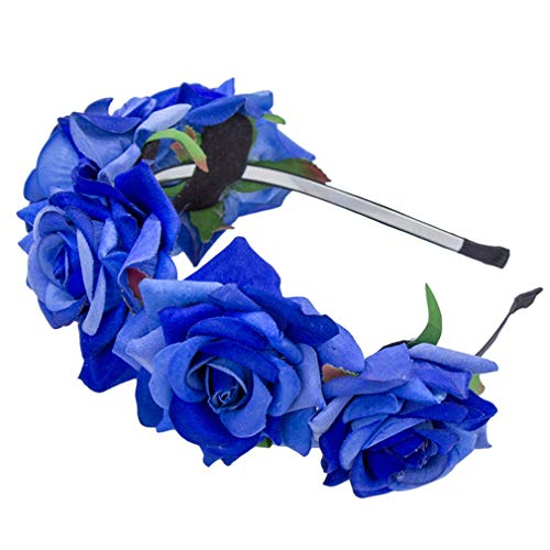 Rose Blume Stirnband Festival Haarschmuck Hochzeit Blumen Braut Floral Crown Party Prom Decor Prinzessin Kranz Kopfschmuck Royal Blue