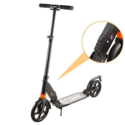 WeSkate Erwachsene City Roller Scooter mit der Bremse und Doppelfederung | Big Wheel Höhenverstellbar Extragroß klappbar tragbar Cityroller Tretroller für Jugendliche und Kinder ab 8 Jahre (Schwarz)