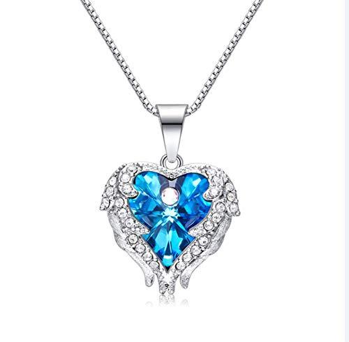 ZXH S925 Sterling Silber Halskette Engel Herz Frau Mode Halskette Swarovski Elements Kristall Geburtstag