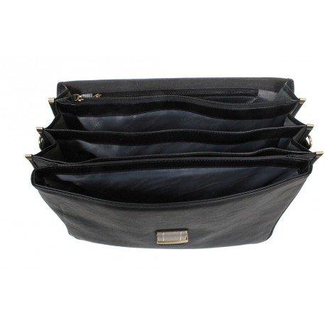 Charmoni - Serviette Cartable Mallette 4 Soufflets En Cuir De Vachette Neuf Fallou Noir