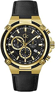 Gc Mens Quartz Watch, Chronograph Display And Leather Strap - Y24011G2MF