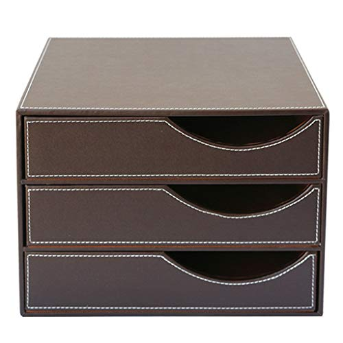 Schreibtisch Aktenschrank Kreative Schubladentyp Datenspeicher Leder Business Storage Supplies Aktenschrank (Farbe : Brown) (Brown-leder-bücherregal)