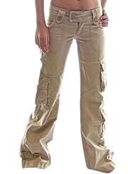 Himalaya pantalones de tiro bajo para mujeres 45062 - 100% Algodon, Alta calidad, Senoritas Estilo militar pantalones combate