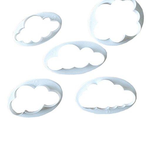 Cutogain Cortador de Nube de plástico en 3D, 5 Piezas, Molde para Galletas y repostería, Kit de Herramientas para decoración de Tartas