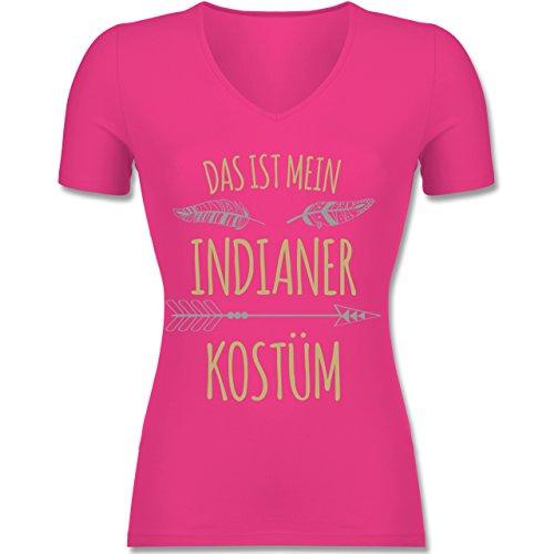 Shirtracer Karneval & Fasching - Das ist Mein Indianer Kostüm - Tailliertes T-Shirt mit V-Ausschnitt für Frauen Fuchsia