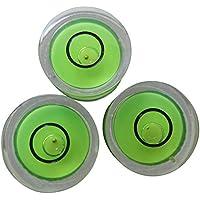 3 x Livelle sferiche ad alcol bolla in acrilico con sfera guida in metallo, Verde / Livella a bolla piccola, custodia in acrilico, livella per superfici, centro bersaglio fiala